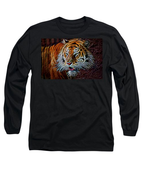 Nature Long Sleeve T-Shirt featuring the digital art Big Cat by Aaron Berg