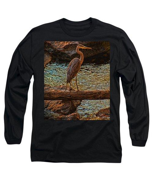Big Falls Blue Heron Long Sleeve T-Shirt by Trey Foerster