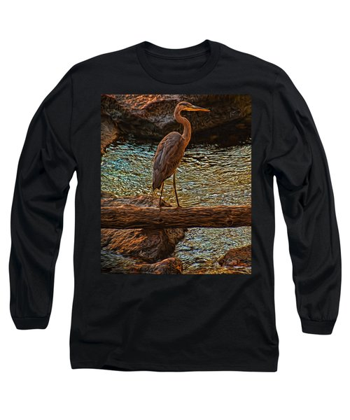 Big Falls Blue Heron Long Sleeve T-Shirt