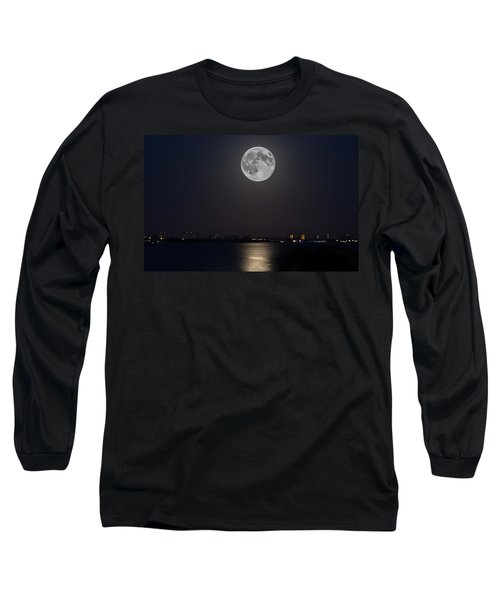 Big Moon Over The Bay Long Sleeve T-Shirt