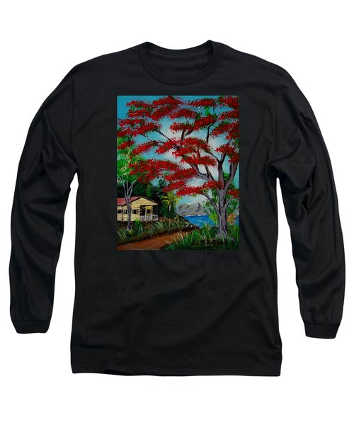 Big Red Long Sleeve T-Shirt by Luis F Rodriguez