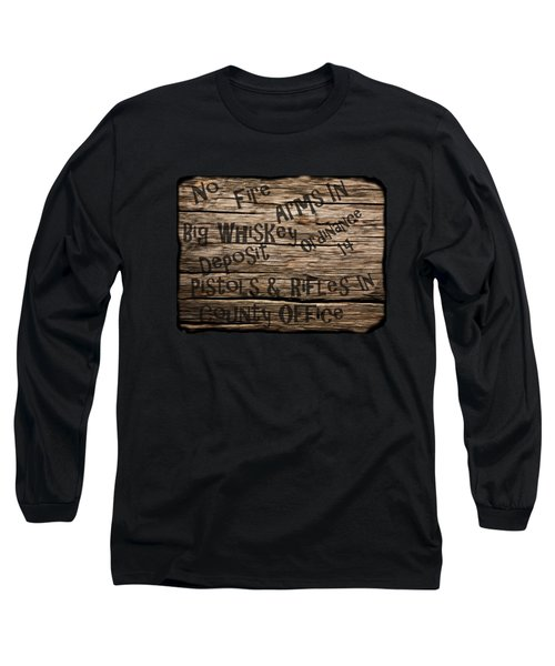 Long Sleeve T-Shirt featuring the drawing Big Whiskey Fire Arm Sign by Movie Poster Prints