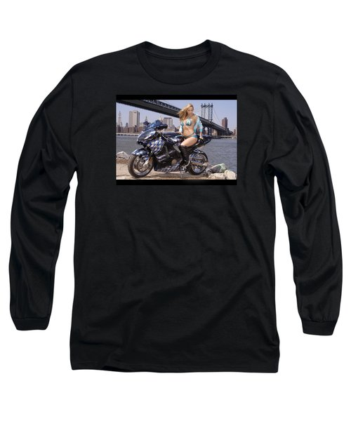 Bike, Babe, And Bridge In The Big Apple Long Sleeve T-Shirt by Lawrence Christopher