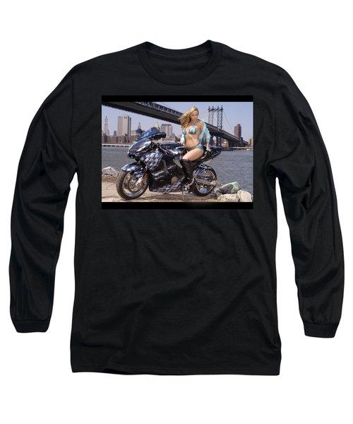 Bike, Babe, And Bridge In The Big Apple Long Sleeve T-Shirt