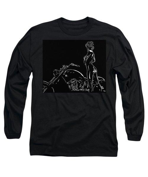 Long Sleeve T-Shirt featuring the drawing Biker Biach by Mayhem Mediums
