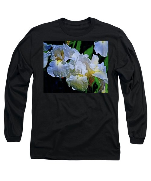 Long Sleeve T-Shirt featuring the mixed media Billowing White Irises by Lynda Lehmann