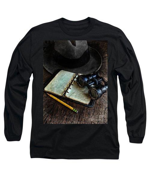 Binoculars Fedora And Notebook Long Sleeve T-Shirt by Jill Battaglia