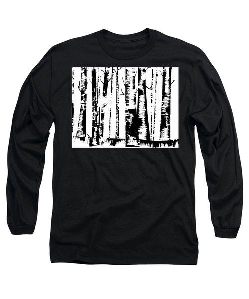 Birch Forest Black Long Sleeve T-Shirt