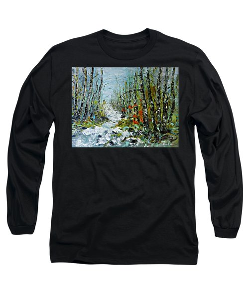 Long Sleeve T-Shirt featuring the painting Birches Near Waterfall by AmaS Art