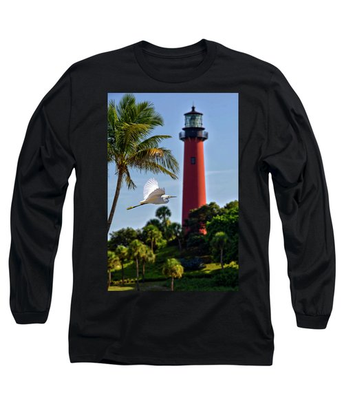 Bird In Flight Under Jupiter Lighthouse, Florida Long Sleeve T-Shirt by Justin Kelefas