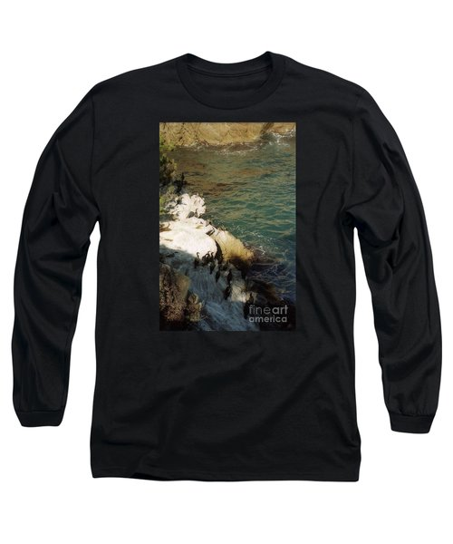Birds On Rock Above Pacific Ocean Long Sleeve T-Shirt by Ted Pollard