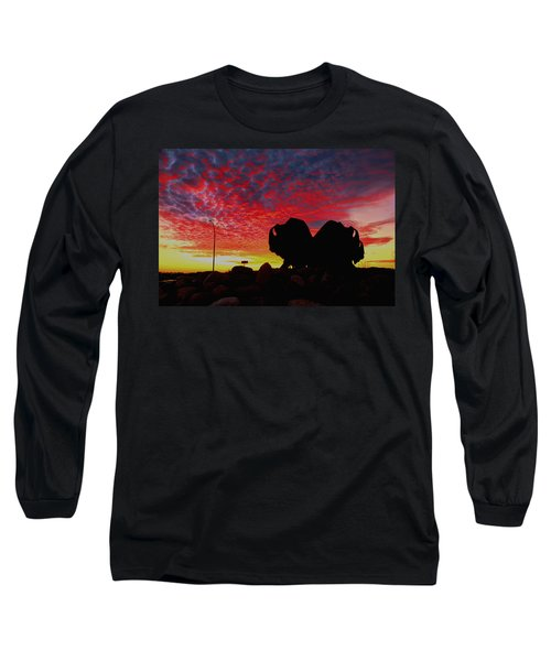 Bison Sunset Long Sleeve T-Shirt by Larry Trupp