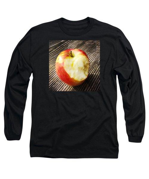 Bitten Red Apple Long Sleeve T-Shirt by Matthias Hauser