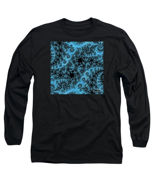 Long Sleeve T-Shirt featuring the digital art Black And Blue Paisley by Elaine Teague