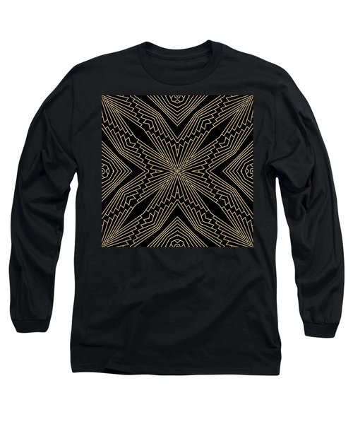 Black And Gold Art Deco Filigree 003 Long Sleeve T-Shirt