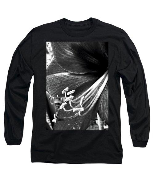 Black And White Amaryllis Long Sleeve T-Shirt