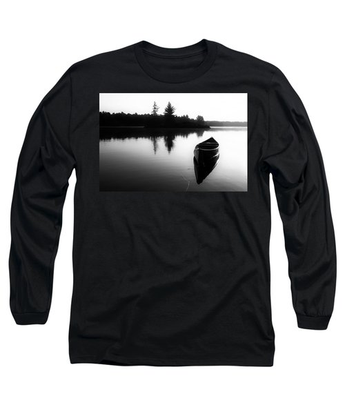 Black And White Canoe In Still Water Long Sleeve T-Shirt