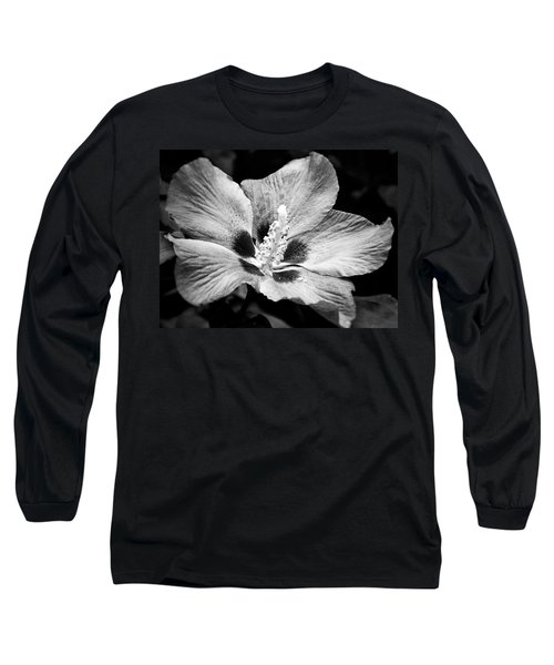Long Sleeve T-Shirt featuring the photograph Black And White Hibiscus  by Karen Stahlros