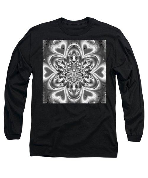 Long Sleeve T-Shirt featuring the digital art Black And White Mandala 9 by Robert Thalmeier