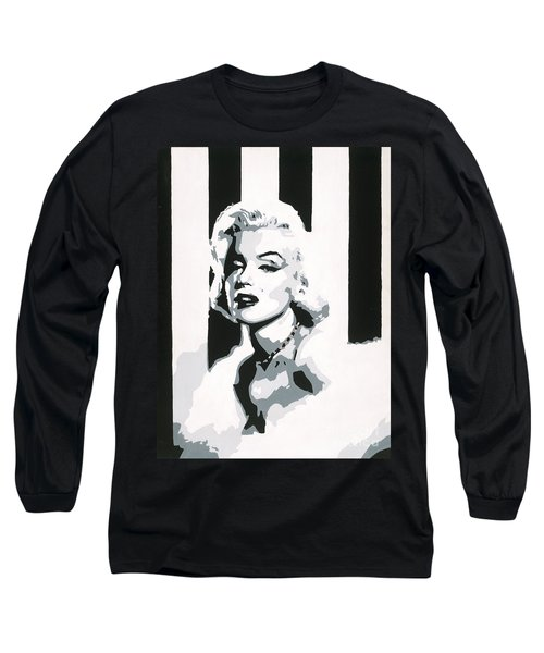 Long Sleeve T-Shirt featuring the painting Black And White Marilyn by Ashley Price
