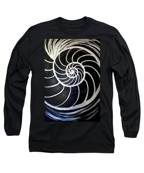 Black And White Nautilus Spiral Long Sleeve T-Shirt