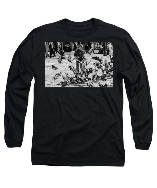 Black And White Of Boy Feeding Pigeons In Sarajevo, Bosnia And Herzegovina  Long Sleeve T-Shirt