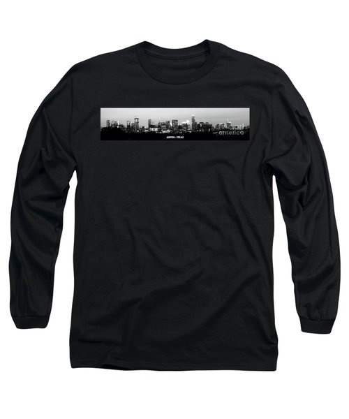 Black And White Panoramic View Of Downtown Austin Long Sleeve T-Shirt