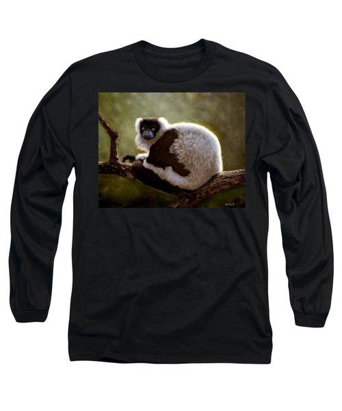 Black And White Ruffed Lemur Long Sleeve T-Shirt