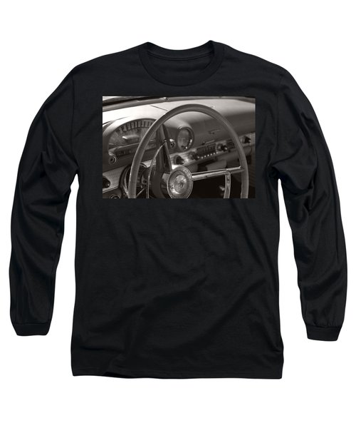 Black And White Thunderbird Steering Wheel  Long Sleeve T-Shirt