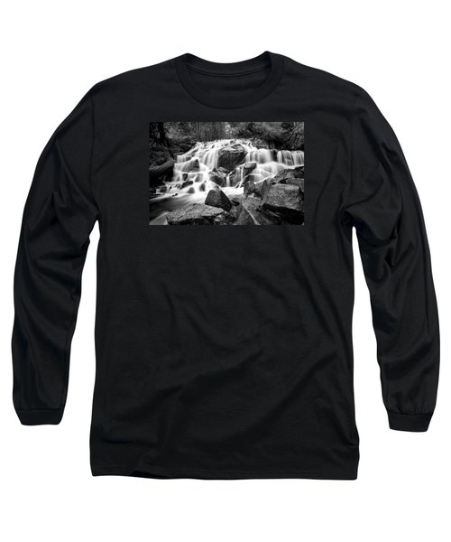Black And White Waterfall In Lee Vining Canyon Long Sleeve T-Shirt