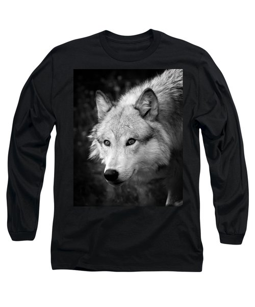 Black And White Wolf Long Sleeve T-Shirt by Steve McKinzie
