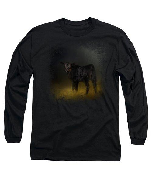Black Angus Calf In The Moonlight Long Sleeve T-Shirt by Jai Johnson