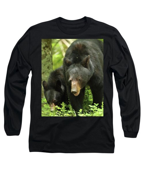 Long Sleeve T-Shirt featuring the photograph Black Bear And Cub On Ground by Coby Cooper