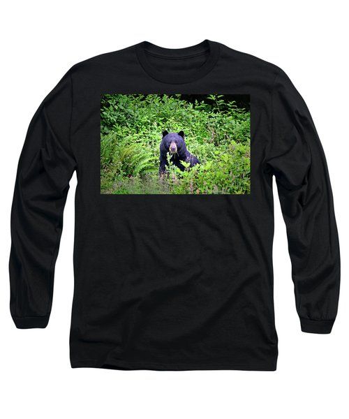 Long Sleeve T-Shirt featuring the photograph Black Bear Eating His Veggies by Peggy Collins