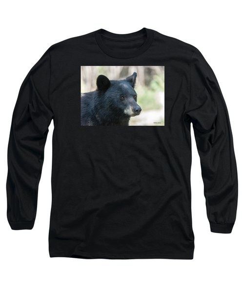 Black Bear Up Close Long Sleeve T-Shirt by Stephen  Johnson