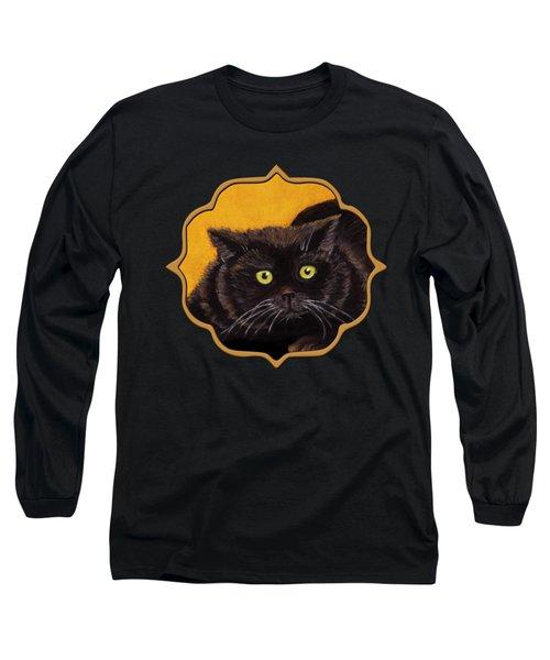 Black Cat Long Sleeve T-Shirt by Anastasiya Malakhova