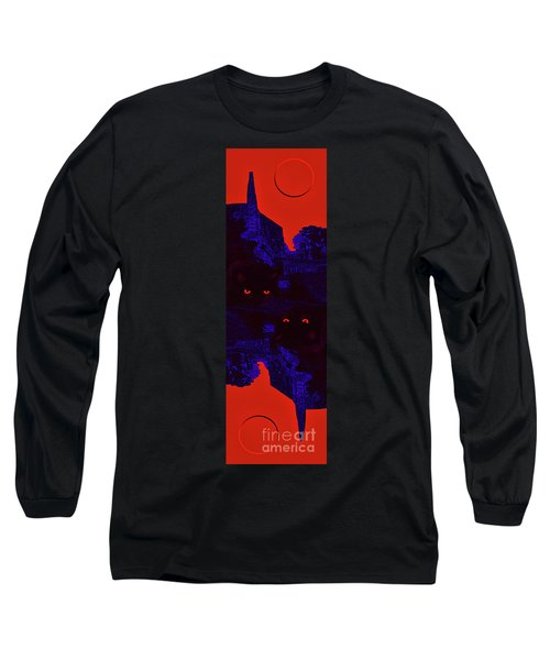 Black Cat Under A Blood Red Moon Long Sleeve T-Shirt