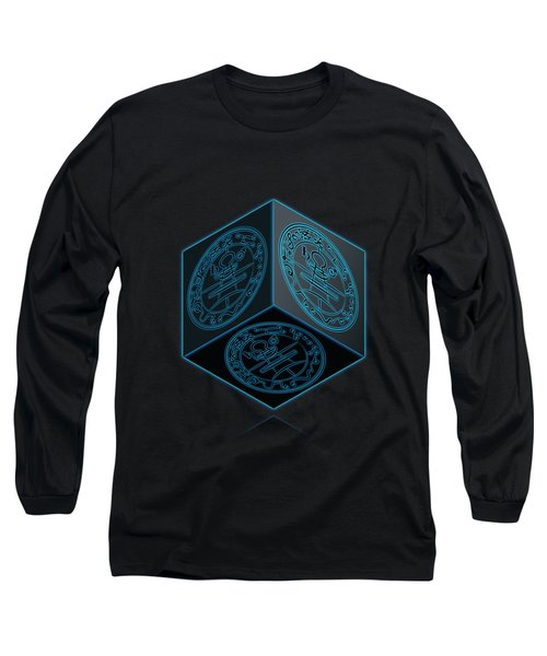 Black Cube With Six Seals Of Solomon  Long Sleeve T-Shirt