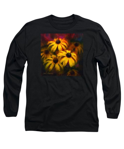 Long Sleeve T-Shirt featuring the painting Black Eyed Susans - Vibrant Flowers by Karen Whitworth