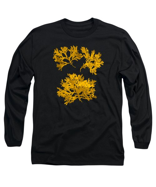 Long Sleeve T-Shirt featuring the mixed media Black Gold Leaf Pattern by Christina Rollo