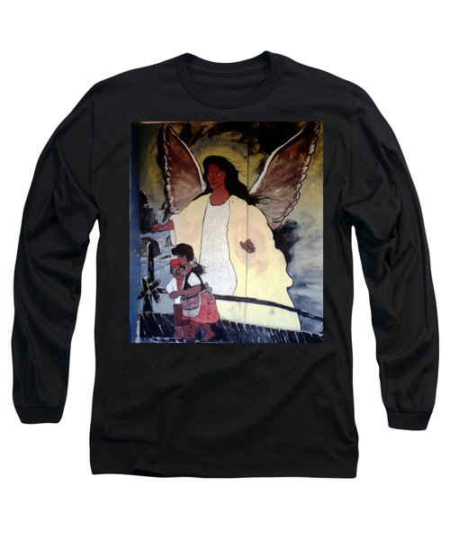 Black Guardian Angel Mural Long Sleeve T-Shirt