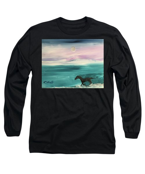 Black Horse Follows The Moon Long Sleeve T-Shirt