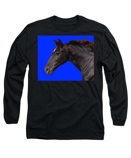 Black Horse Spirit Blue Long Sleeve T-Shirt