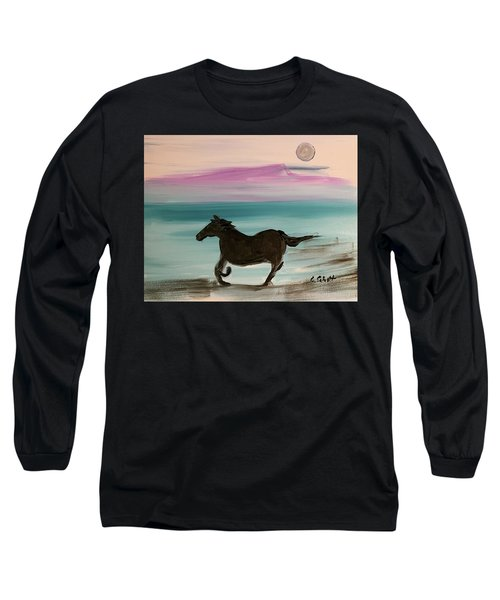 Black Horse With Moon Long Sleeve T-Shirt