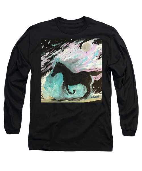 Black Horse With Wave Long Sleeve T-Shirt