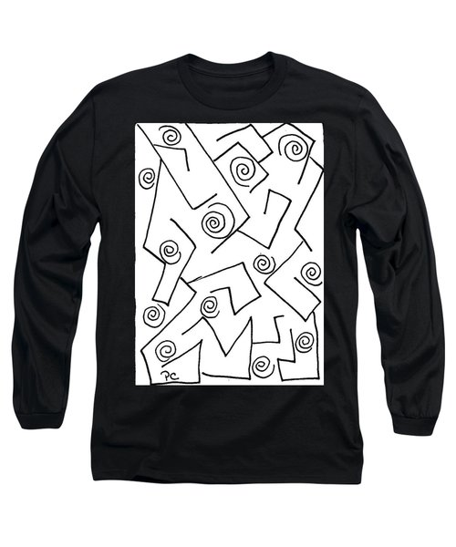 Black Ink Abstract Long Sleeve T-Shirt by Patricia Cleasby