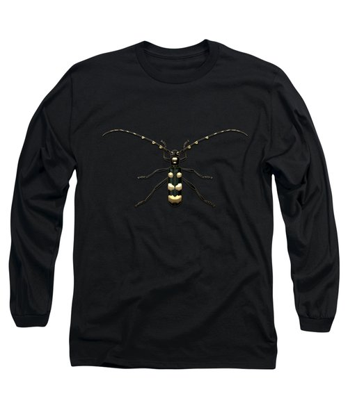 Black Longhorn Beetle With Gold Accents On Black Canvas Long Sleeve T-Shirt