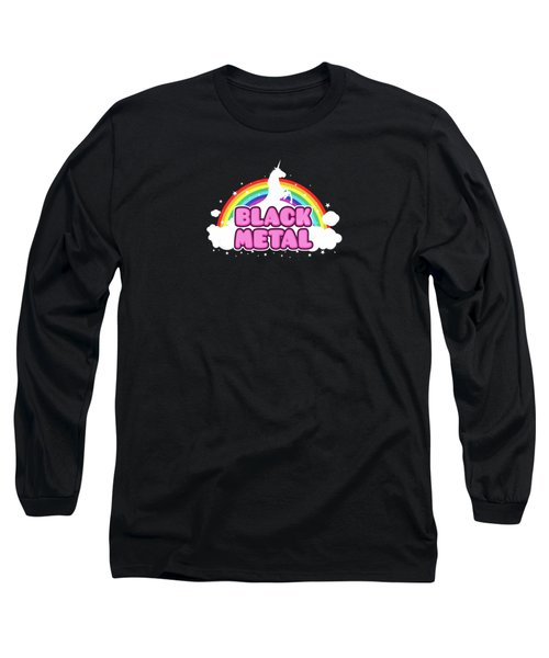 Black Metal Funny Unicorn / Rainbow Mosh Parody Design Long Sleeve T-Shirt by Philipp Rietz
