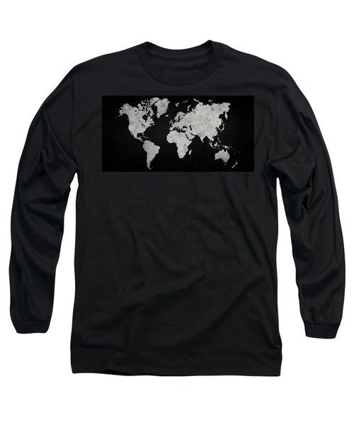 Black Metal Industrial World Map Long Sleeve T-Shirt by Douglas Pittman