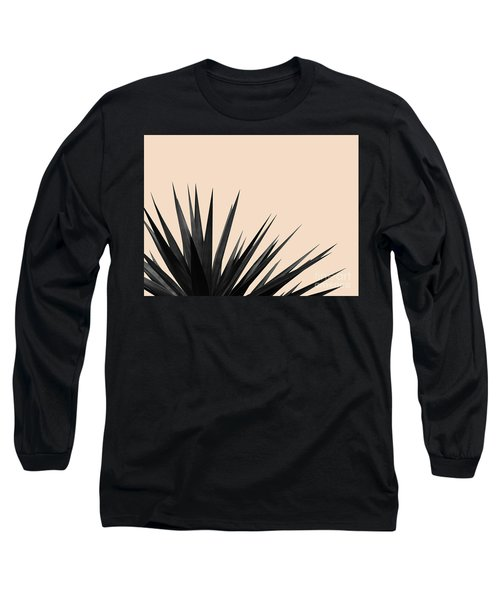 Black Palms On Pale Pink Long Sleeve T-Shirt